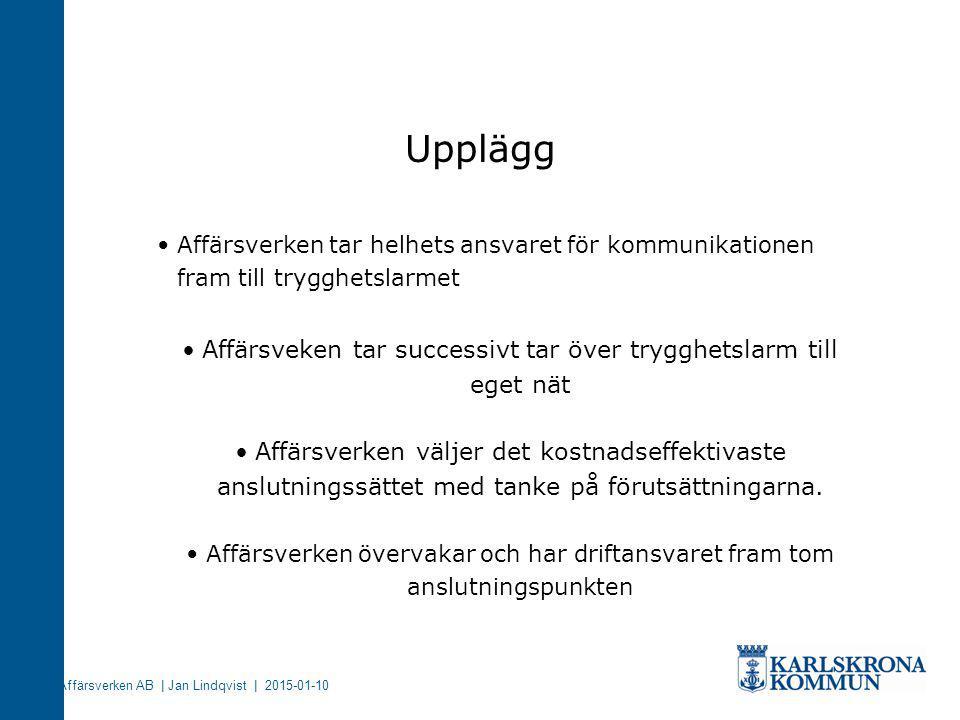 Affärsverken AB | Jan Lindqvist | 2015-01-10 Affärsverken tar helhets ansvaret för kommunikationen fram till trygghetslarmet Affärsveken tar successiv