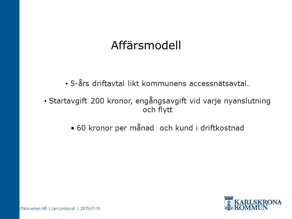 Affärsverken AB | Jan Lindqvist | 2015-01-10 Affärsmodell 5-års driftavtal likt kommunens accessnätsavtal. Startavgift 200 kronor, engångsavgift vid v