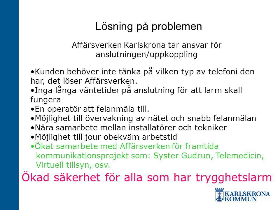 Lösning på problemen Affärsverken Karlskrona tar ansvar för anslutningen/uppkoppling Kunden behöver inte tänka på vilken typ av telefoni den har, det