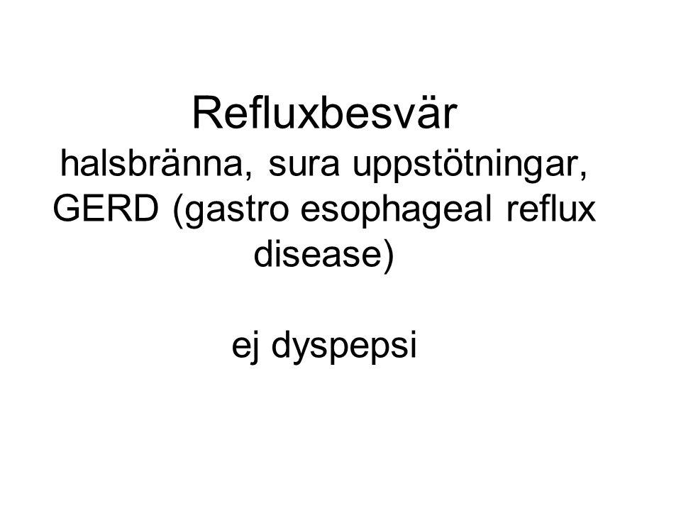 Återkommande symptom som beror på att saltsyra/maginnehåll kommer upp i esofagus.