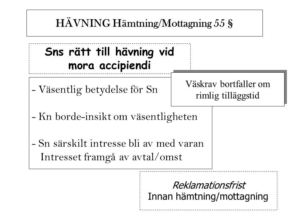 Sns rätt till hävning vid mora accipiendi HÄVNING Hämtning/Mottagning 55 § - Väsentlig betydelse för Sn - Kn borde-insikt om väsentligheten - Sn särsk