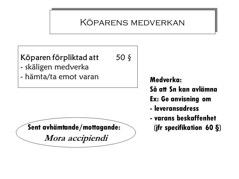 Köparens medverkan Köparen förpliktad att 50 § - skäligen medverka - hämta/ta emot varan Medverka: Så att Sn kan avlämna Ex: Ge anvisning om - leveran