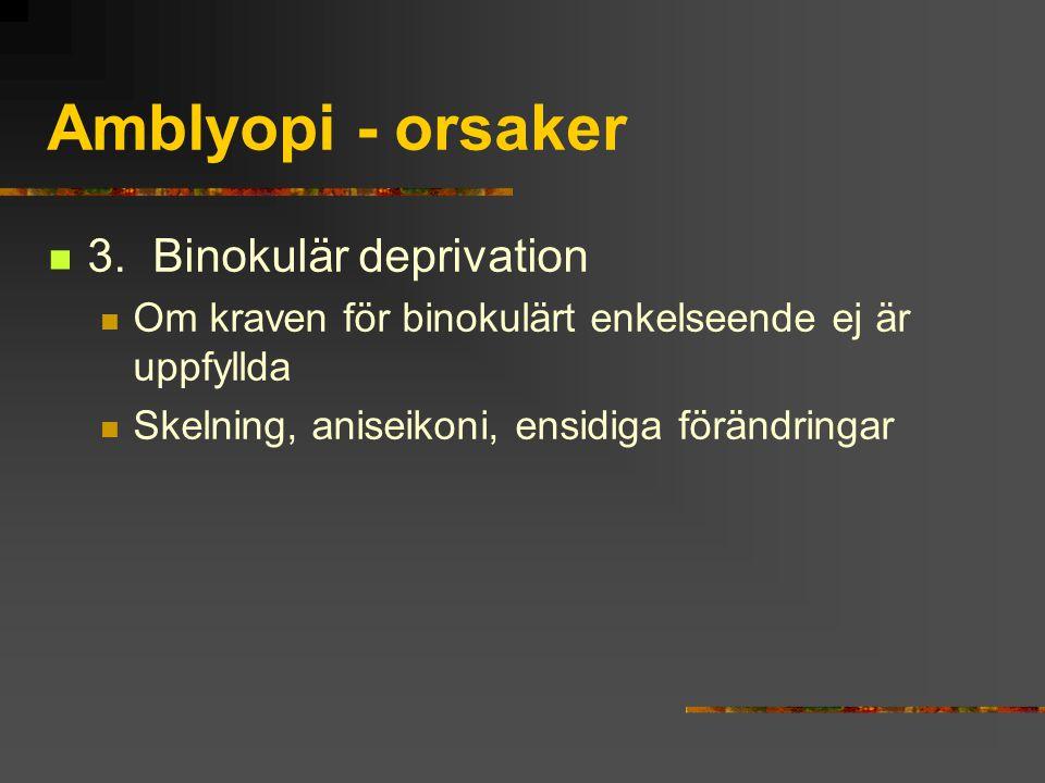 Amblyopi - orsaker 3.Binokulär deprivation Om kraven för binokulärt enkelseende ej är uppfyllda Skelning, aniseikoni, ensidiga förändringar