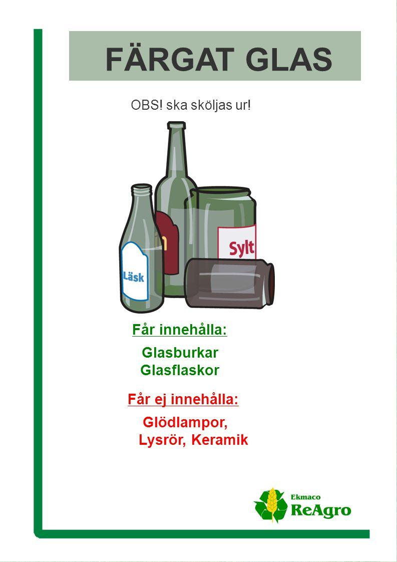 Ekmaco ReAgro AB FÄRGAT GLAS OBS. ska sköljas ur.