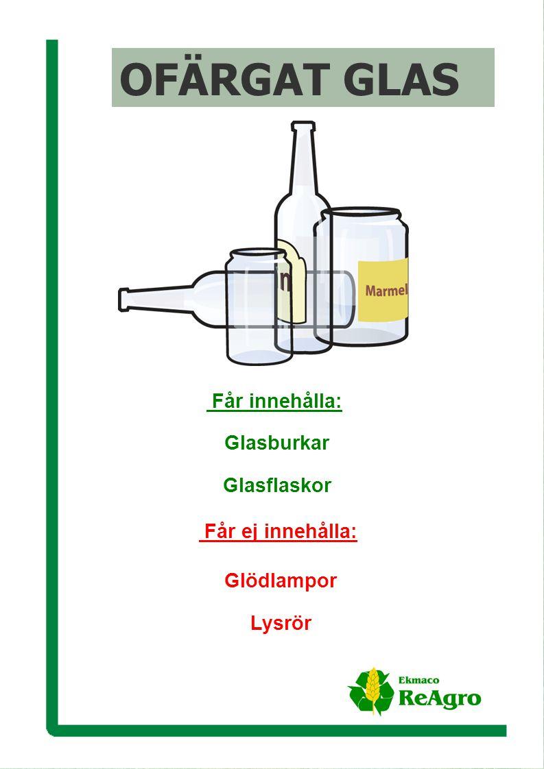 Ekmaco ReAgro AB OFÄRGAT GLAS Får ej innehålla: Glödlampor Lysrör Får innehålla: Glasburkar Glasflaskor OFÄRGAT GLAS