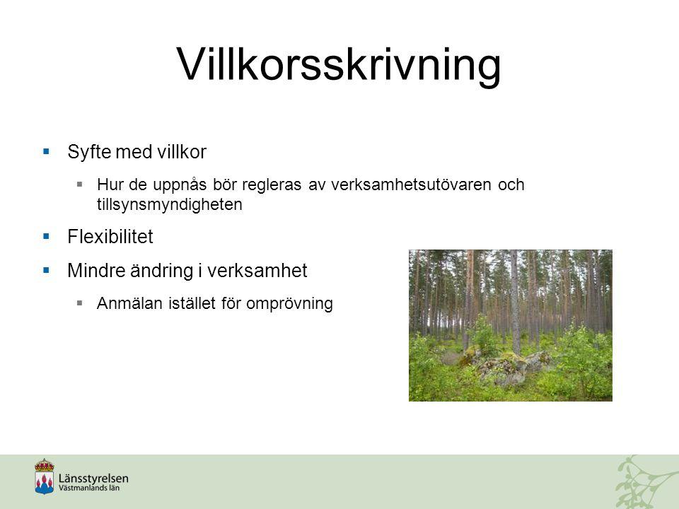 Exempel på tillståndsvillkor  Bullervall ska vara färdigställd innan brytning påbörjas inom respektive etapp.