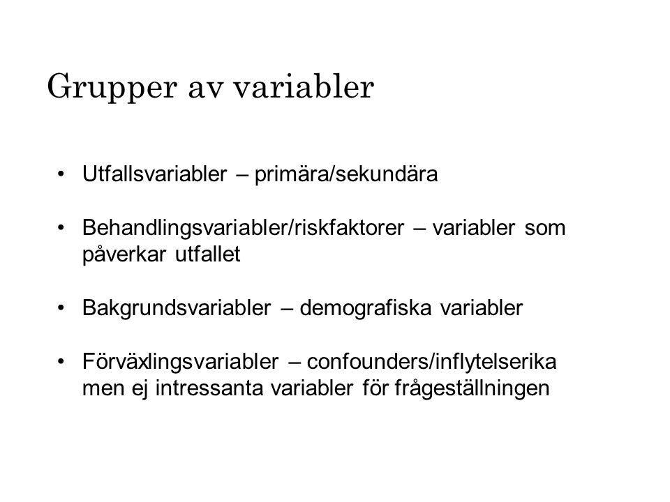 Utfallsvariabler – primära/sekundära Behandlingsvariabler/riskfaktorer – variabler som påverkar utfallet Bakgrundsvariabler – demografiska variabler F