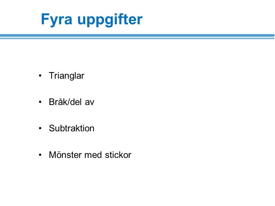 Trianglar Bråk/del av Subtraktion Mönster med stickor Fyra uppgifter