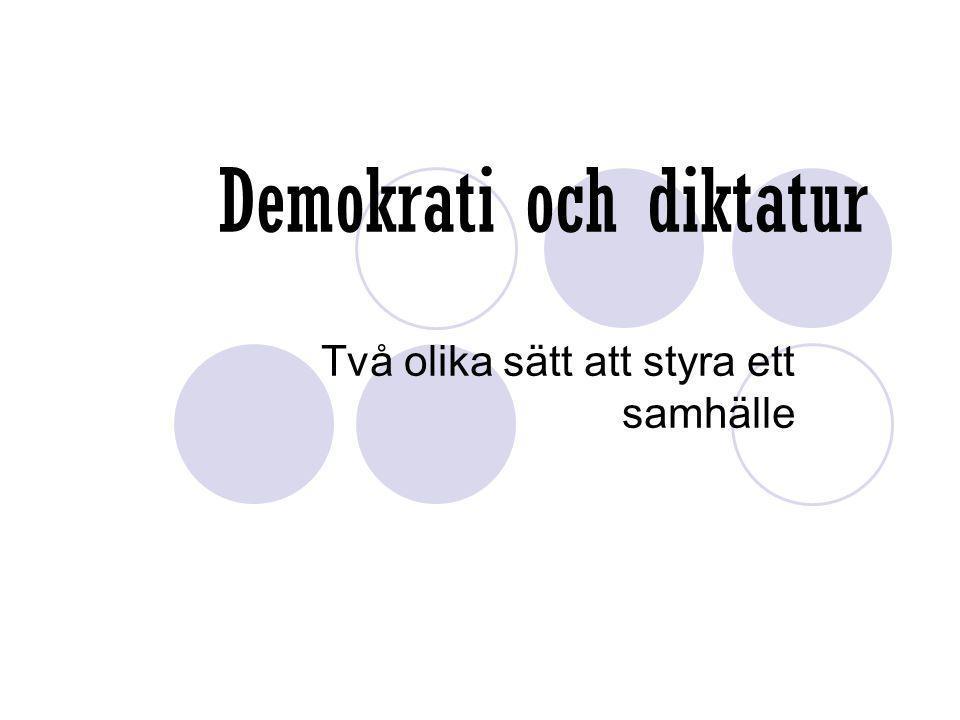 Demokrati och diktatur Två olika sätt att styra ett samhälle