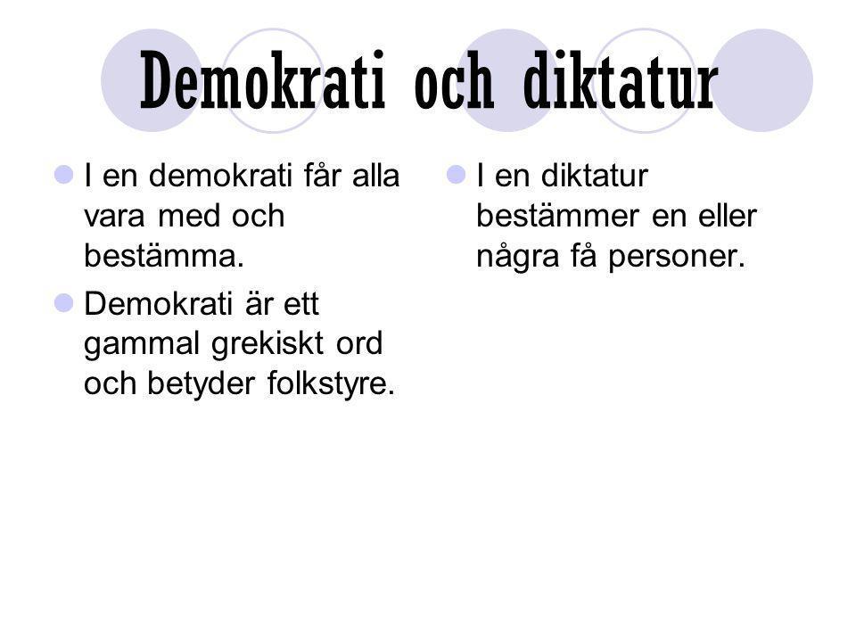 Demokrati och diktatur I en demokrati får alla vara med och bestämma. Demokrati är ett gammal grekiskt ord och betyder folkstyre. I en diktatur bestäm