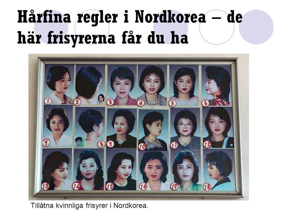 Hårfina regler i Nordkorea – de här frisyrerna får du ha Tillåtna kvinnliga frisyrer i Nordkorea.
