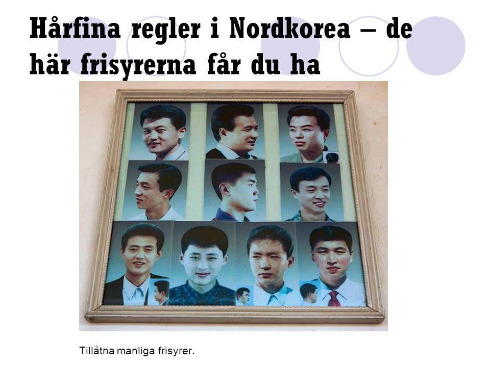 Hårfina regler i Nordkorea – de här frisyrerna får du ha Tillåtna manliga frisyrer.