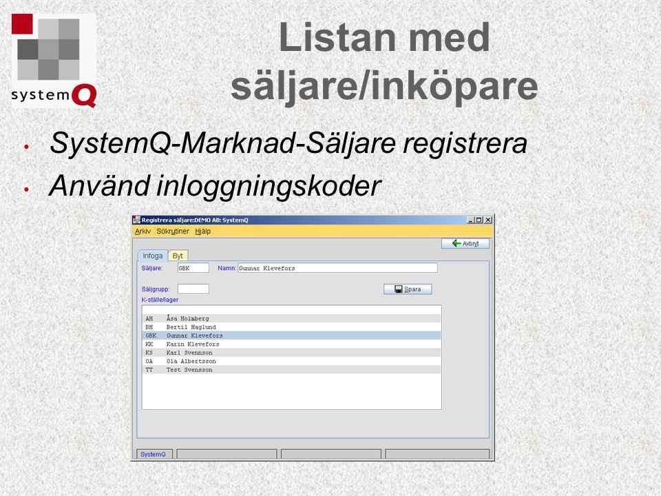 SystemQ-Marknad-Säljare registrera Använd inloggningskoder Listan med säljare/inköpare
