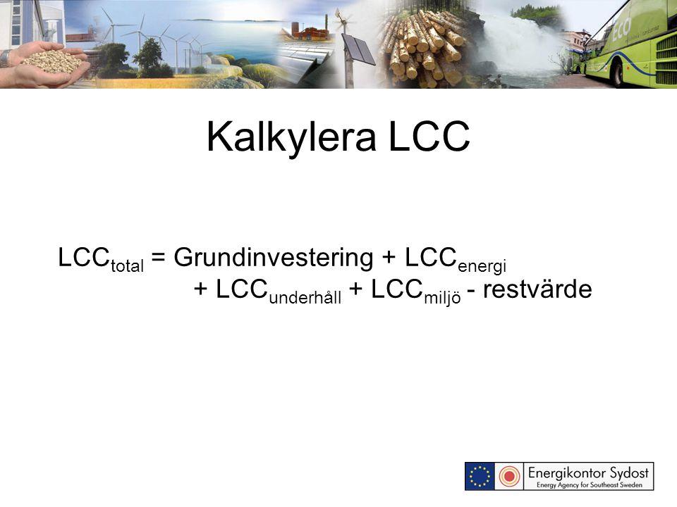 Kalkylera LCC LCC total = Grundinvestering + LCC energi + LCC underhåll + LCC miljö - restvärde