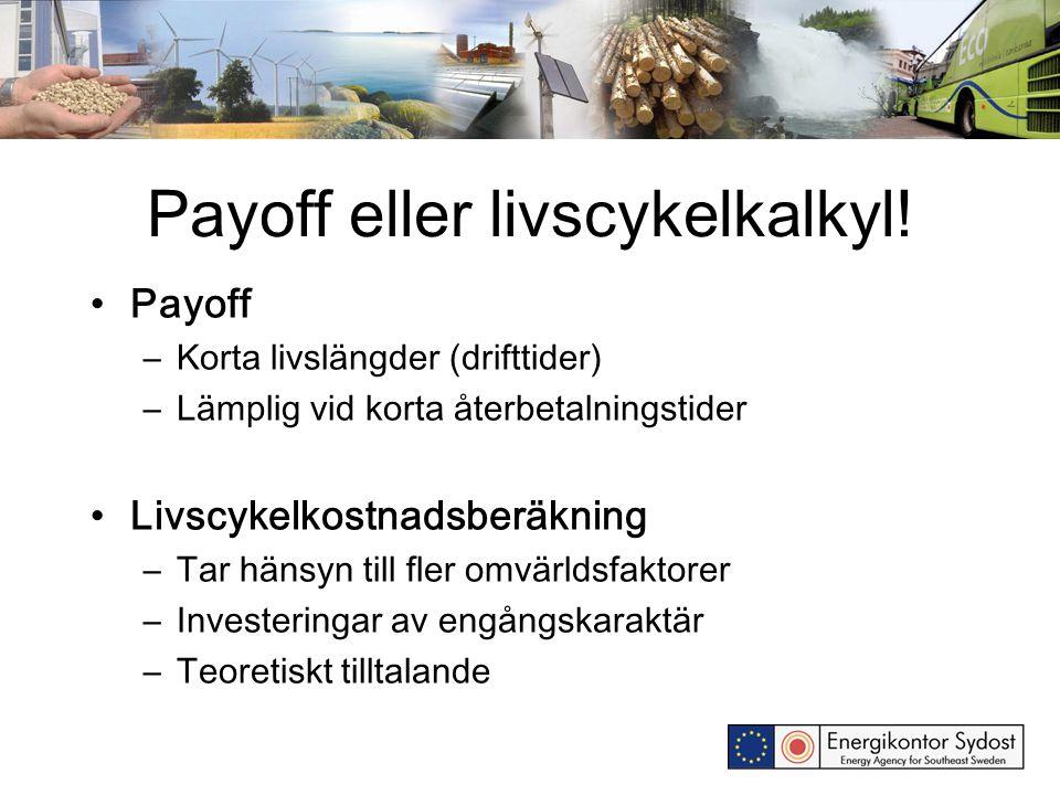 Payoff eller livscykelkalkyl.
