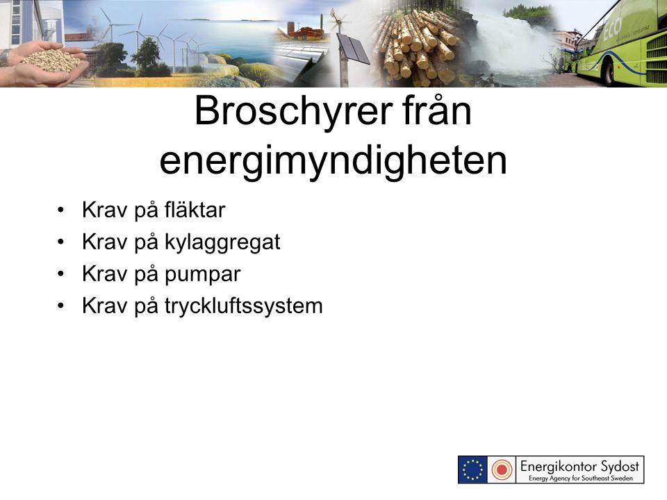 Broschyrer från energimyndigheten Krav på fläktar Krav på kylaggregat Krav på pumpar Krav på tryckluftssystem