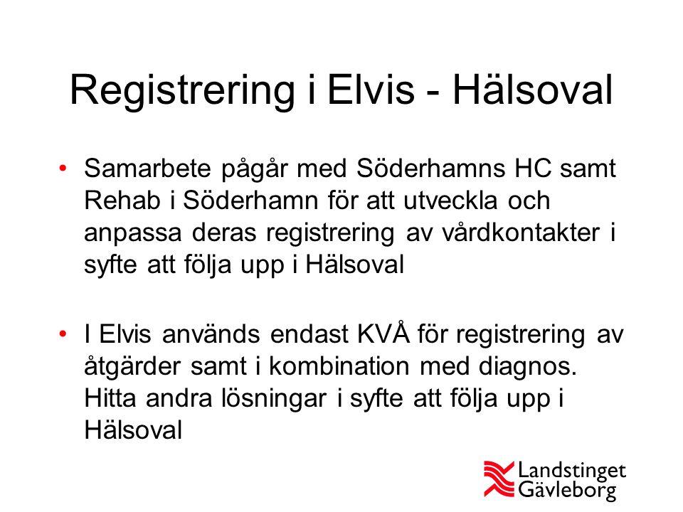 Registrering i Elvis - Hälsoval Samarbete pågår med Söderhamns HC samt Rehab i Söderhamn för att utveckla och anpassa deras registrering av vårdkontakter i syfte att följa upp i Hälsoval I Elvis används endast KVÅ för registrering av åtgärder samt i kombination med diagnos.