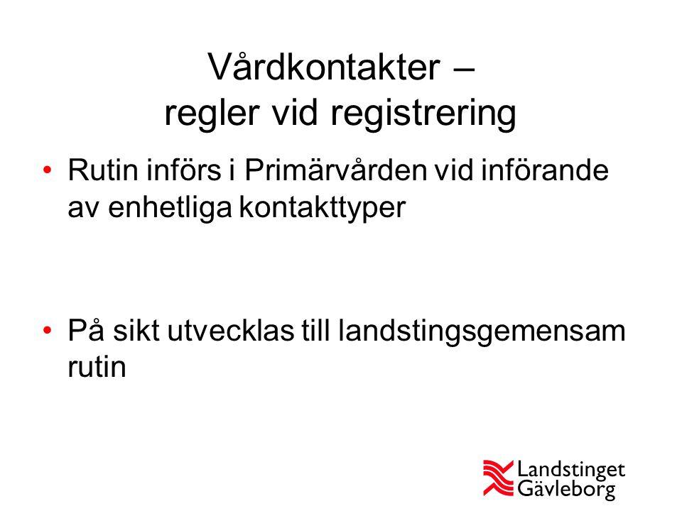 Vårdkontakter – regler vid registrering Rutin införs i Primärvården vid införande av enhetliga kontakttyper På sikt utvecklas till landstingsgemensam