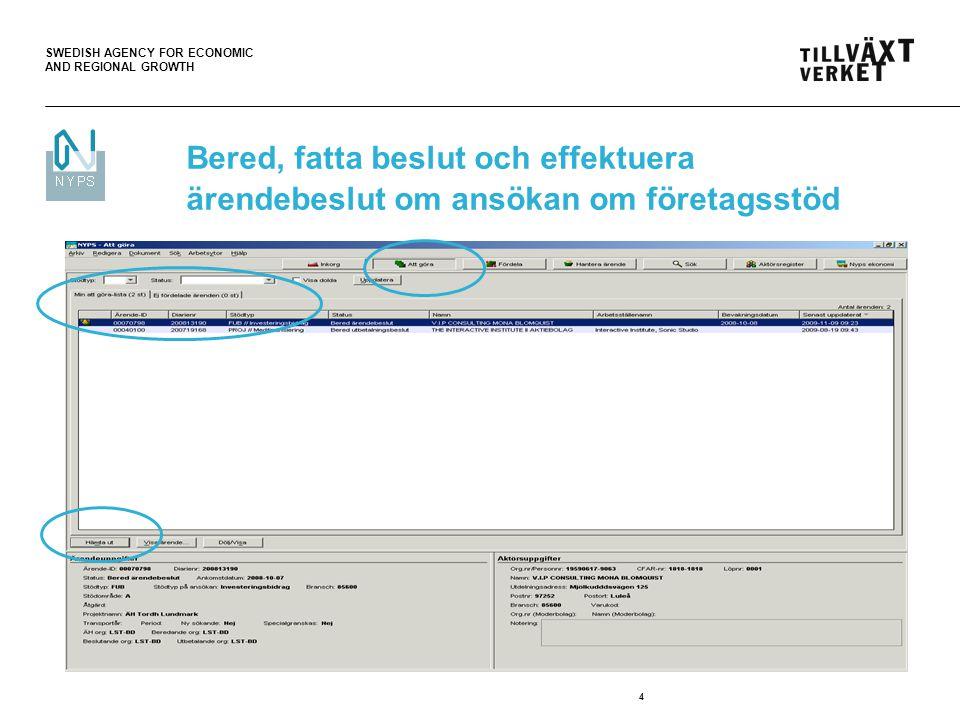 SWEDISH AGENCY FOR ECONOMIC AND REGIONAL GROWTH 4 Bered, fatta beslut och effektuera ärendebeslut om ansökan om företagsstöd