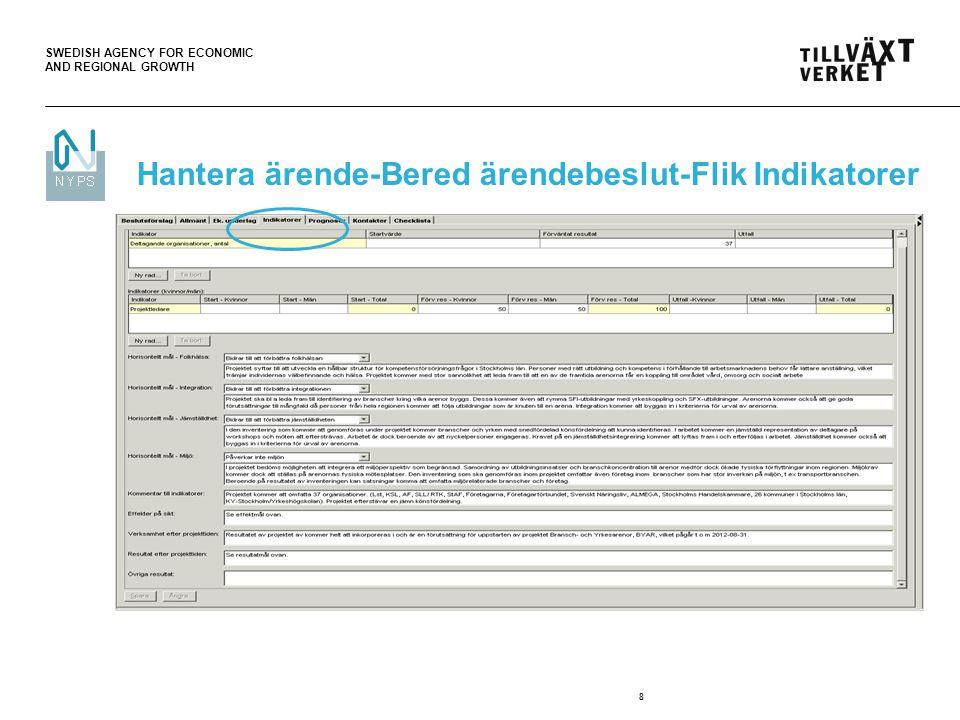 SWEDISH AGENCY FOR ECONOMIC AND REGIONAL GROWTH 8 Hantera ärende-Bered ärendebeslut-Flik Indikatorer