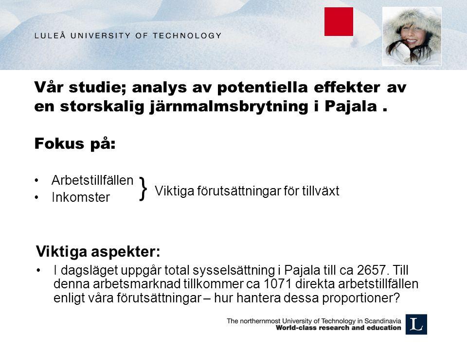 Vår studie; analys av potentiella effekter av en storskalig järnmalmsbrytning i Pajala. Fokus på: Arbetstillfällen Inkomster } Viktiga förutsättningar