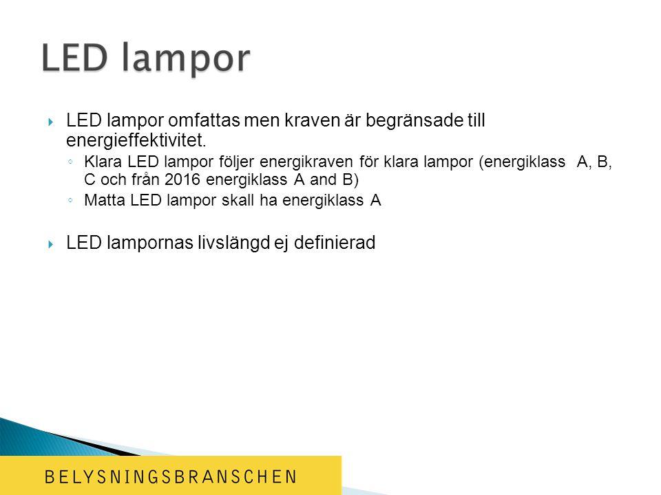  LED lampor omfattas men kraven är begränsade till energieffektivitet.