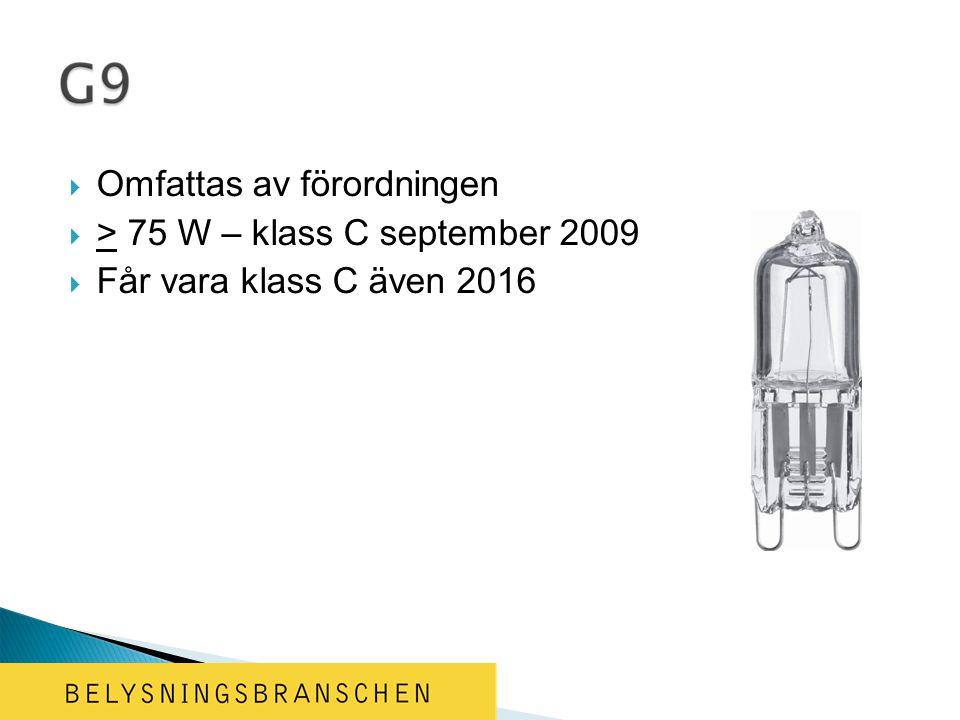  Omfattas av förordningen  > 75 W – klass C september 2009  Får vara klass C även 2016