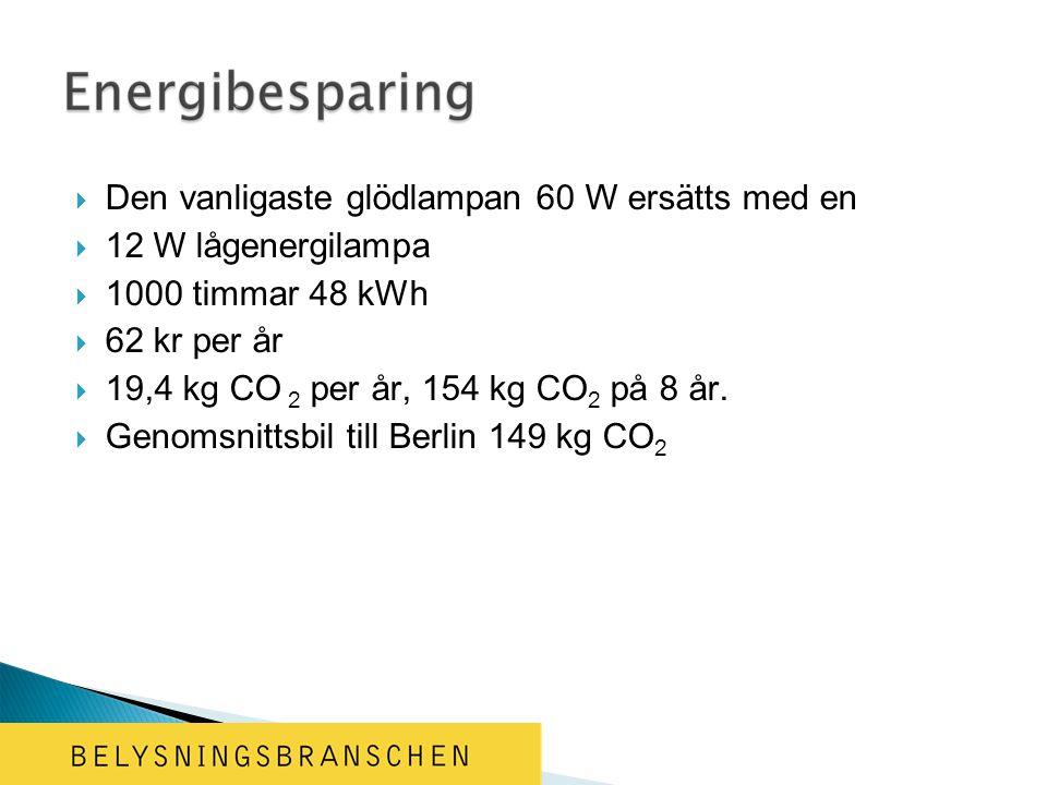  Den vanligaste glödlampan 60 W ersätts med en  12 W lågenergilampa  1000 timmar 48 kWh  62 kr per år  19,4 kg CO 2 per år, 154 kg CO 2 på 8 år.
