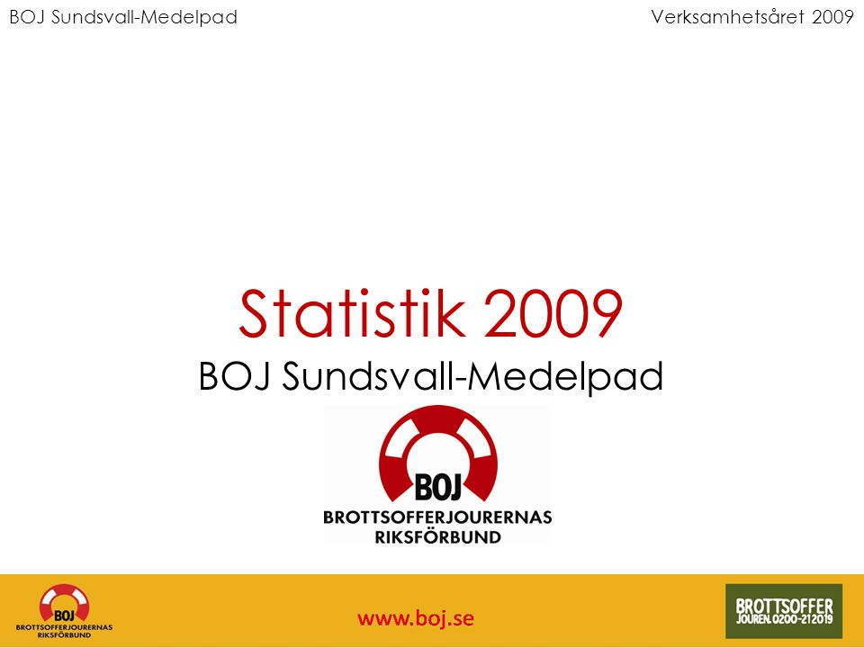 BOJ Sundsvall-MedelpadVerksamhetsåret 2009 Statistik 2009 BOJ Sundsvall-Medelpad