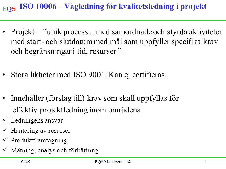 """EQSEQSEQSEQS 0609EQS Management©1 ISO 10006 – Vägledning för kvalitetsledning i projekt Projekt = """"unik process.. med samordnade och styrda aktivitete"""