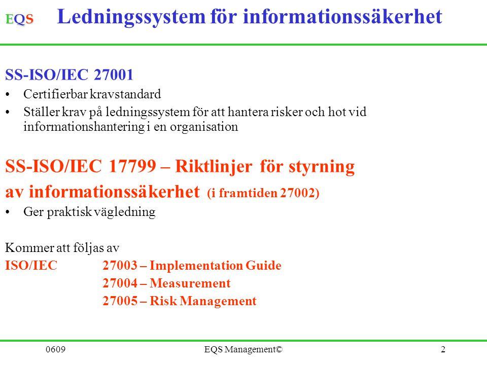 EQSEQSEQSEQS 0609EQS Management©2 SS-ISO/IEC 27001 Certifierbar kravstandard Ställer krav på ledningssystem för att hantera risker och hot vid informa