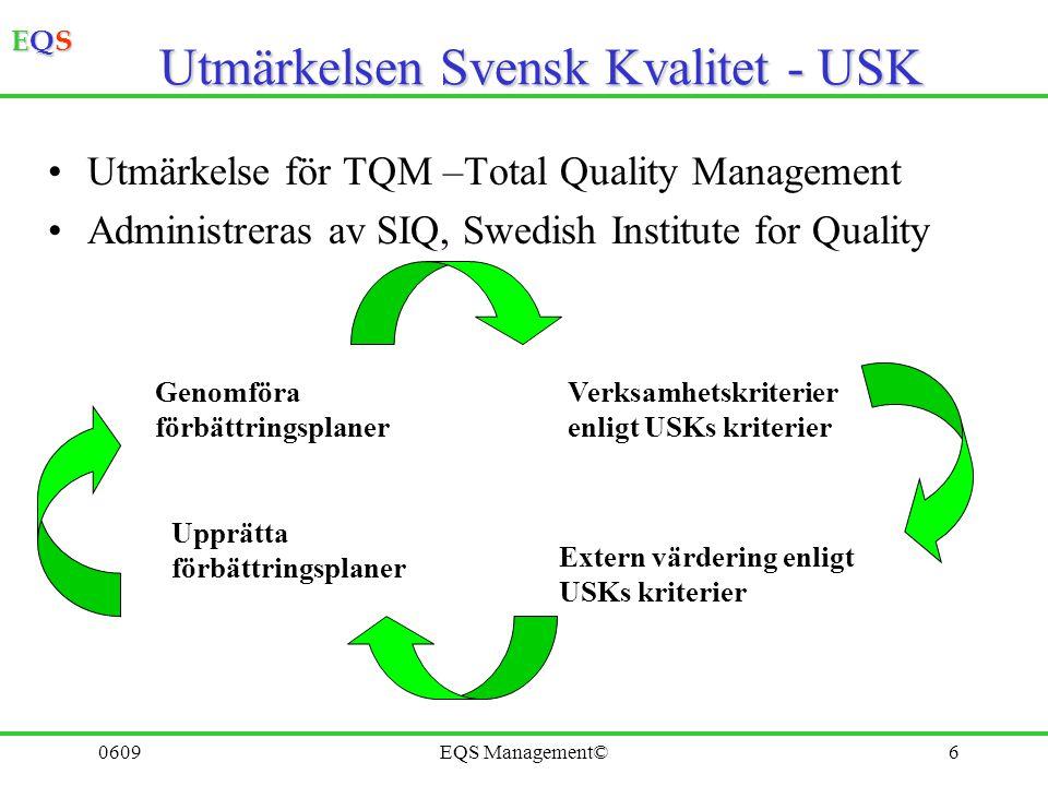 EQSEQSEQSEQS 0609EQS Management©6 Utmärkelsen Svensk Kvalitet - USK Utmärkelse för TQM –Total Quality Management Administreras av SIQ, Swedish Institu