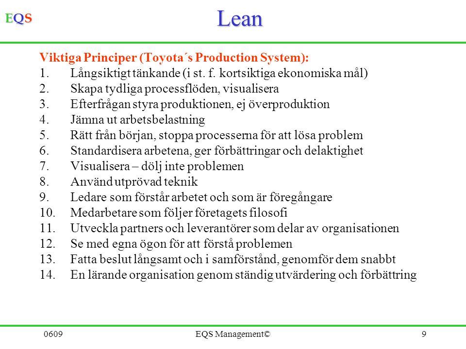 EQSEQSEQSEQS 0609EQS Management©9Lean Viktiga Principer (Toyota´s Production System): 1.Långsiktigt tänkande (i st. f. kortsiktiga ekonomiska mål) 2.S