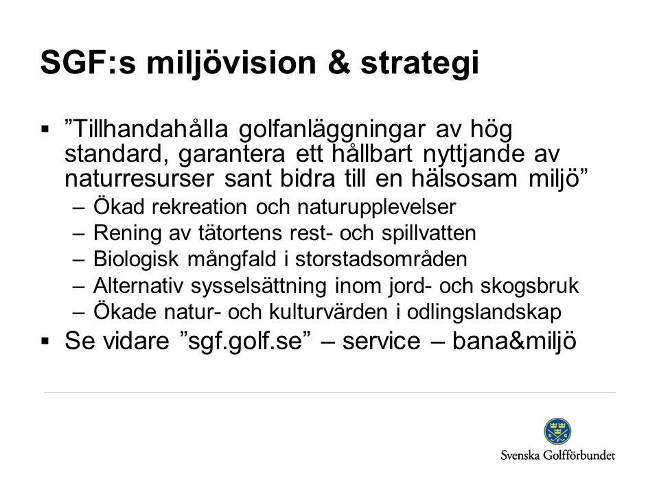 SGF:s miljövision & strategi  Tillhandahålla golfanläggningar av hög standard, garantera ett hållbart nyttjande av naturresurser sant bidra till en hälsosam miljö –Ökad rekreation och naturupplevelser –Rening av tätortens rest- och spillvatten –Biologisk mångfald i storstadsområden –Alternativ sysselsättning inom jord- och skogsbruk –Ökade natur- och kulturvärden i odlingslandskap  Se vidare sgf.golf.se – service – bana&miljö