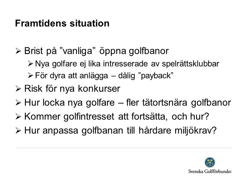 """Framtidens situation  Brist på """"vanliga"""" öppna golfbanor  Nya golfare ej lika intresserade av spelrättsklubbar  För dyra att anlägga – dålig """"payba"""