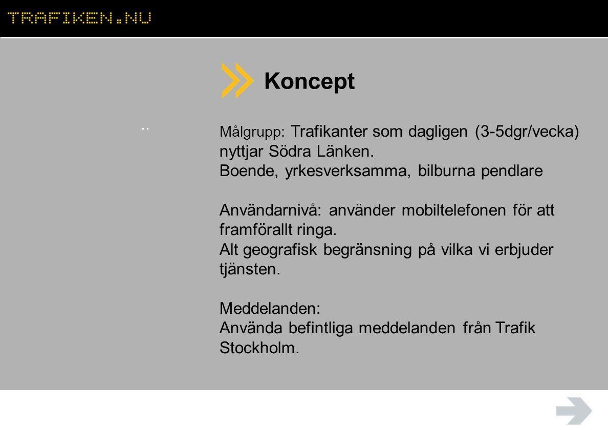 Koncept.. Målgrupp: Trafikanter som dagligen (3-5dgr/vecka) nyttjar Södra Länken.