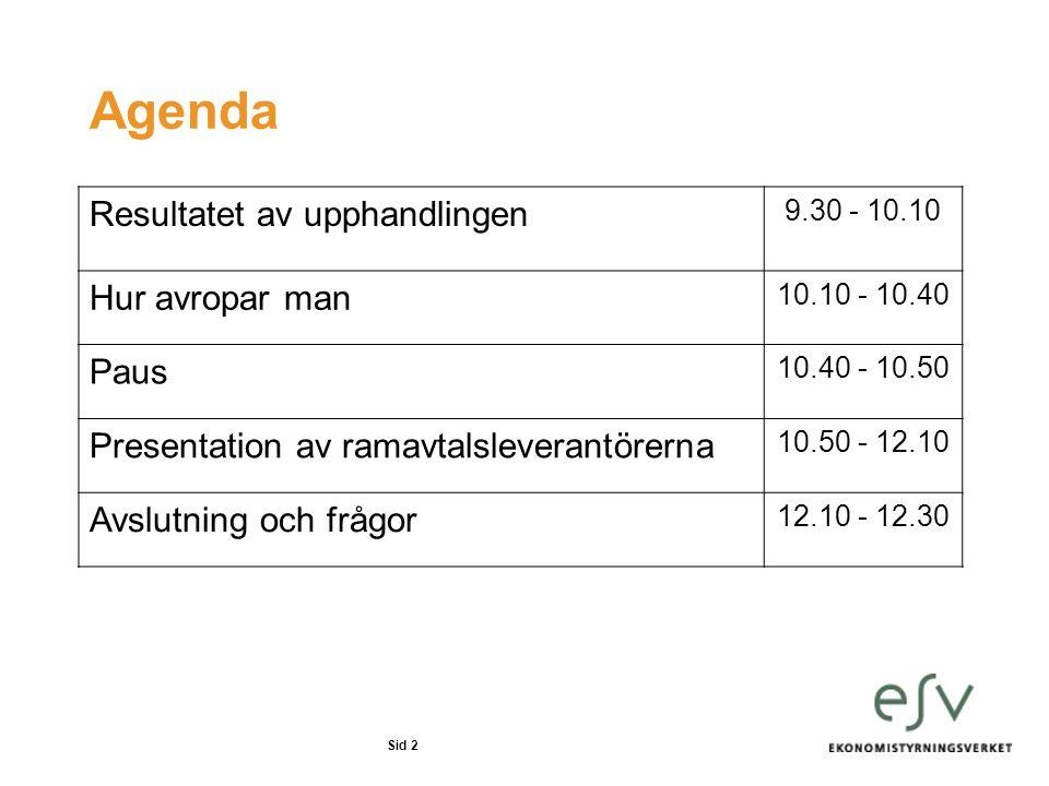 Sid 2 Agenda Resultatet av upphandlingen 9.30 - 10.10 Hur avropar man 10.10 - 10.40 Paus 10.40 - 10.50 Presentation av ramavtalsleverantörerna 10.50 -