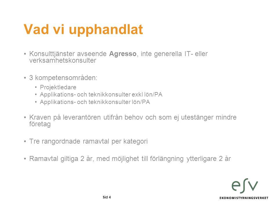 Sid 4 Vad vi upphandlat Konsulttjänster avseende Agresso, inte generella IT- eller verksamhetskonsulter 3 kompetensområden: Projektledare Applikations