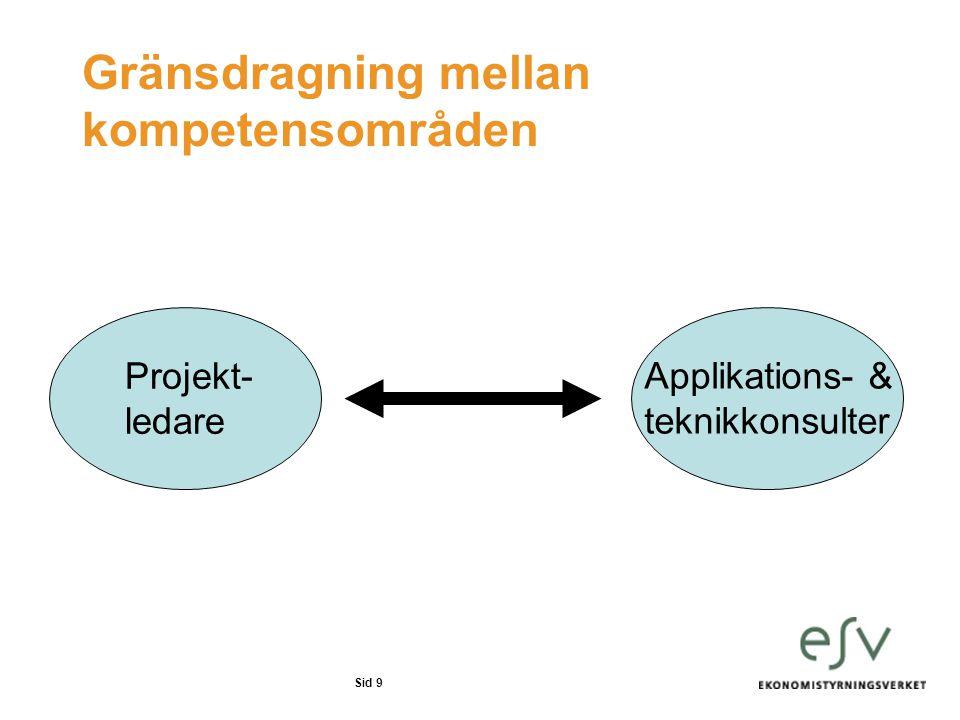 Sid 9 Gränsdragning mellan kompetensområden Projekt- ledare Applikations- & teknikkonsulter