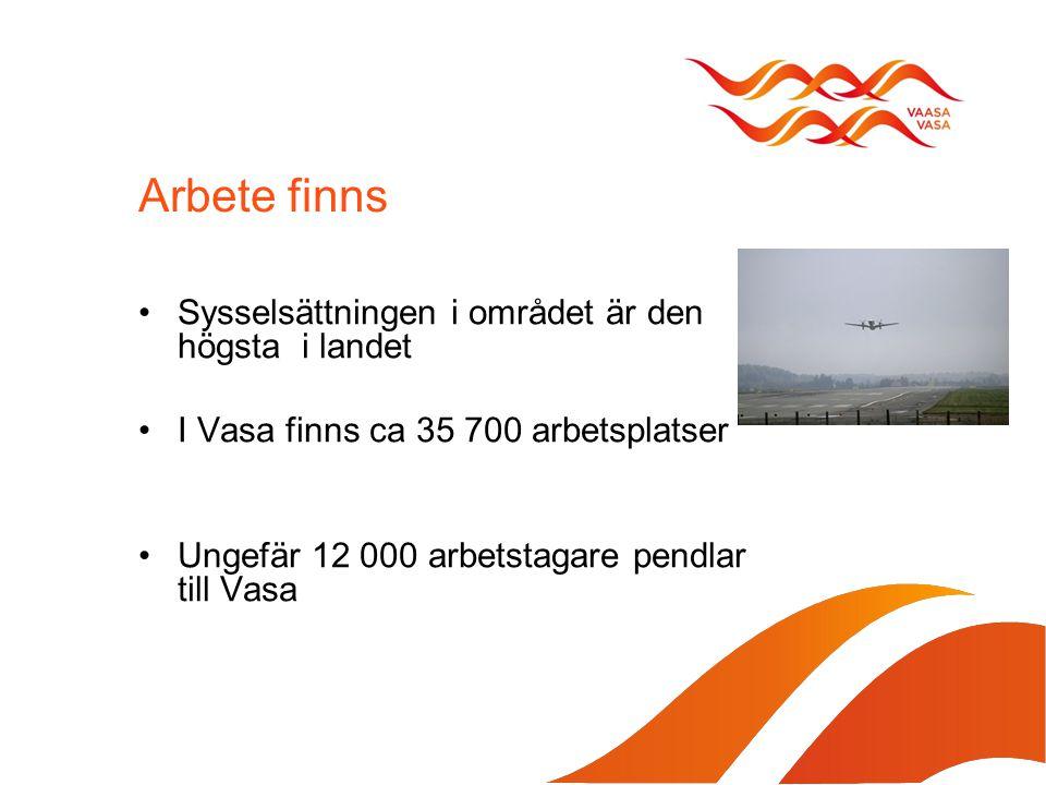Arbete finns Sysselsättningen i området är den högsta i landet I Vasa finns ca 35 700 arbetsplatser Ungefär 12 000 arbetstagare pendlar till Vasa