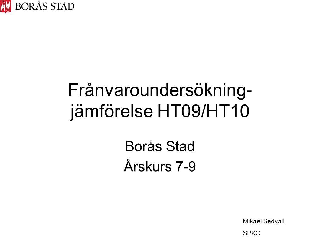 Frånvaroundersökning- jämförelse HT09/HT10 Borås Stad Årskurs 7-9 Mikael Sedvall SPKC