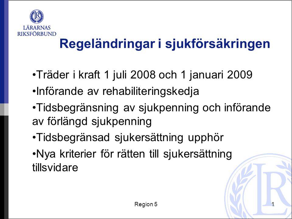 Region 51 Regeländringar i sjukförsäkringen Träder i kraft 1 juli 2008 och 1 januari 2009 Införande av rehabiliteringskedja Tidsbegränsning av sjukpen