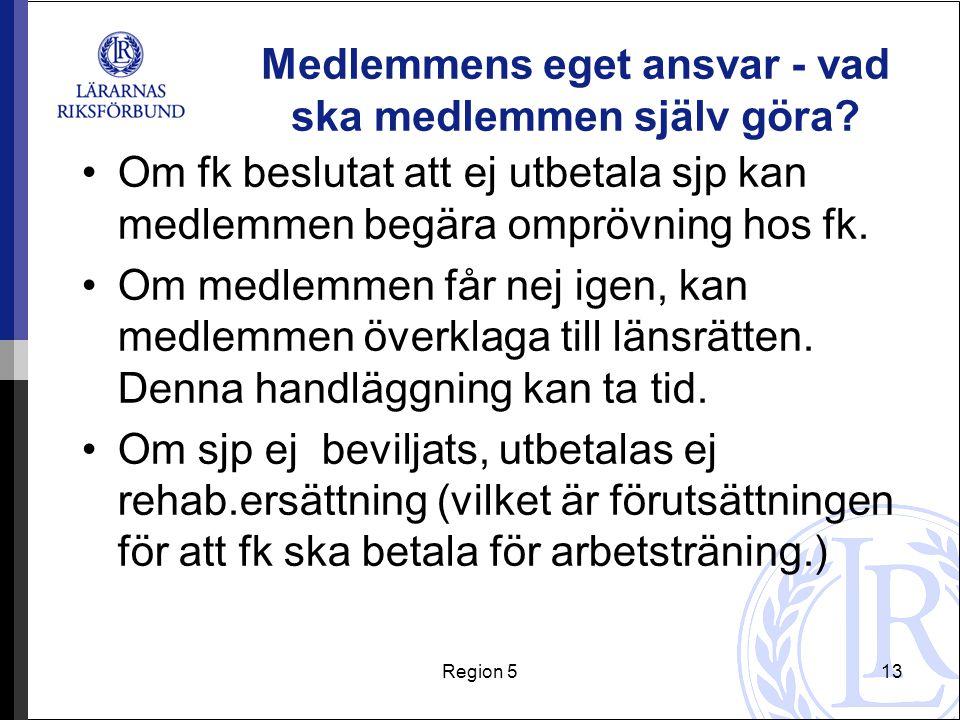 Region 513 Medlemmens eget ansvar - vad ska medlemmen själv göra? Om fk beslutat att ej utbetala sjp kan medlemmen begära omprövning hos fk. Om medlem