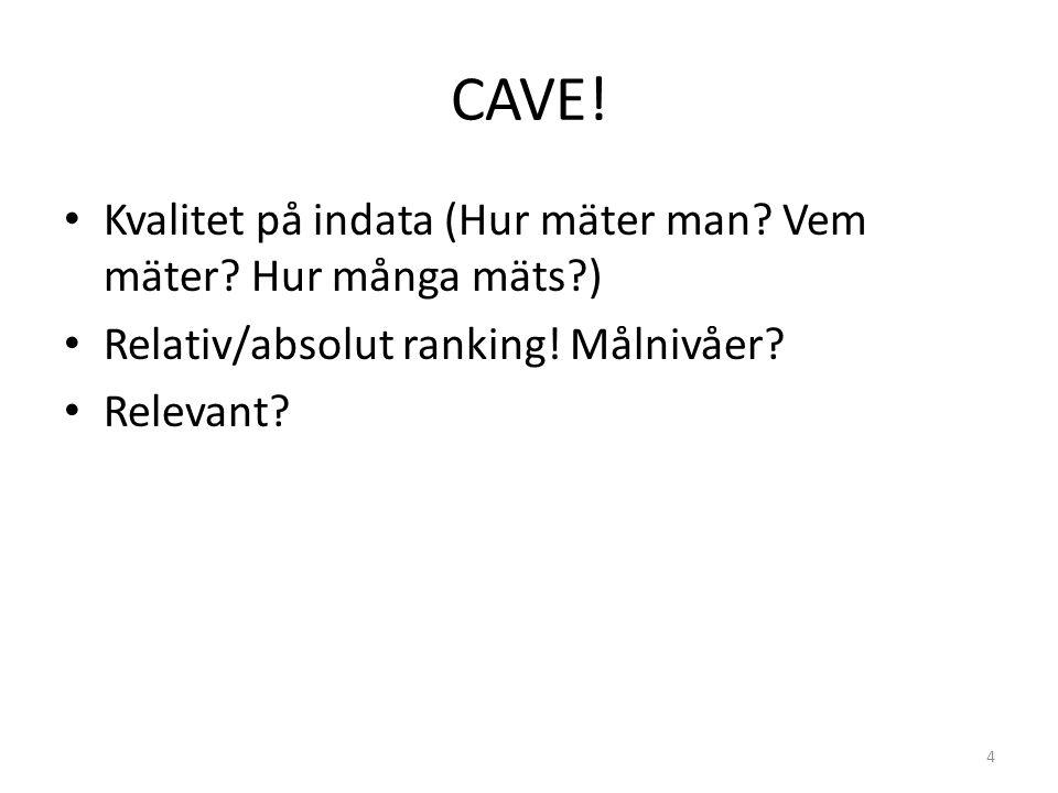 CAVE! Kvalitet på indata (Hur mäter man? Vem mäter? Hur många mäts?) Relativ/absolut ranking! Målnivåer? Relevant? 4