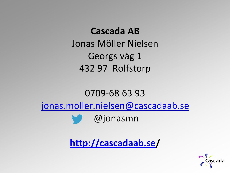 Cascada AB Jonas Möller Nielsen Georgs väg 1 432 97 Rolfstorp 0709-68 63 93 jonas.moller.nielsen@cascadaab.se @jonasmn http://cascadaab.sehttp://casca