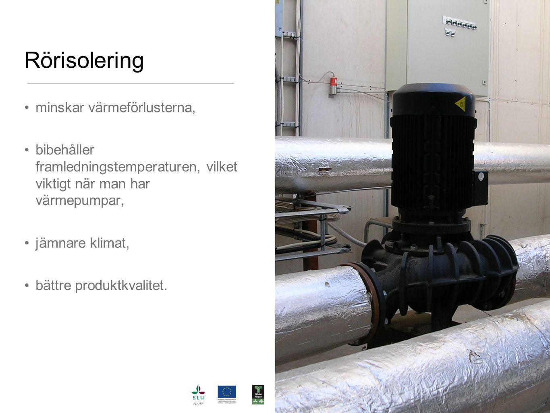 Rörisolering minskar värmeförlusterna, bibehåller framledningstemperaturen, vilket viktigt när man har värmepumpar, jämnare klimat, bättre produktkval