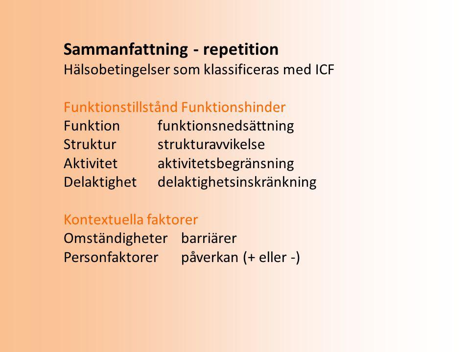 Sammanfattning - repetition Hälsobetingelser som klassificeras med ICF FunktionstillståndFunktionshinder Funktionfunktionsnedsättning Strukturstrukturavvikelse Aktivitetaktivitetsbegränsning Delaktighetdelaktighetsinskränkning Kontextuella faktorer Omständigheterbarriärer Personfaktorerpåverkan (+ eller -)