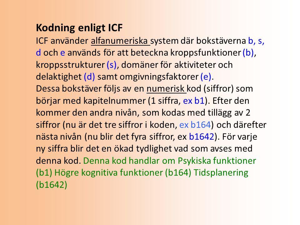 Kodning enligt ICF ICF använder alfanumeriska system där bokstäverna b, s, d och e används för att beteckna kroppsfunktioner (b), kroppsstrukturer (s), domäner för aktiviteter och delaktighet (d) samt omgivningsfaktorer (e).