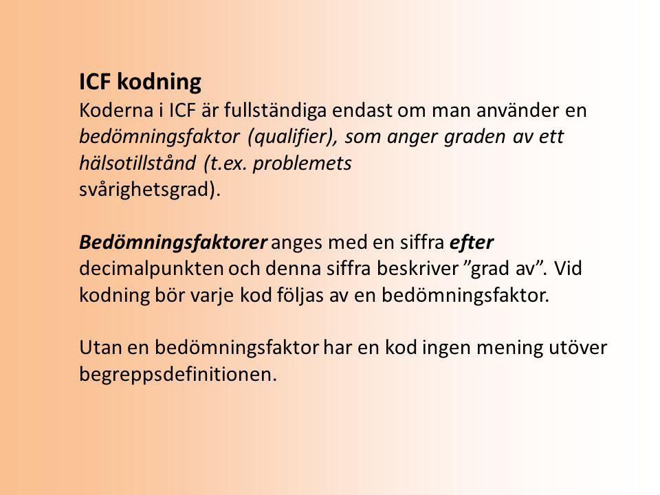 ICF kodning Koderna i ICF är fullständiga endast om man använder en bedömningsfaktor (qualifier), som anger graden av ett hälsotillstånd (t.ex.