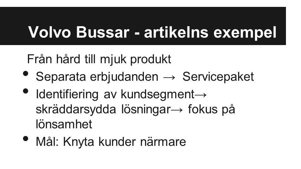 Volvo Bussar - artikelns exempel Från hård till mjuk produkt Separata erbjudanden → Servicepaket Identifiering av kundsegment→ skräddarsydda lösningar→ fokus på lönsamhet Mål: Knyta kunder närmare